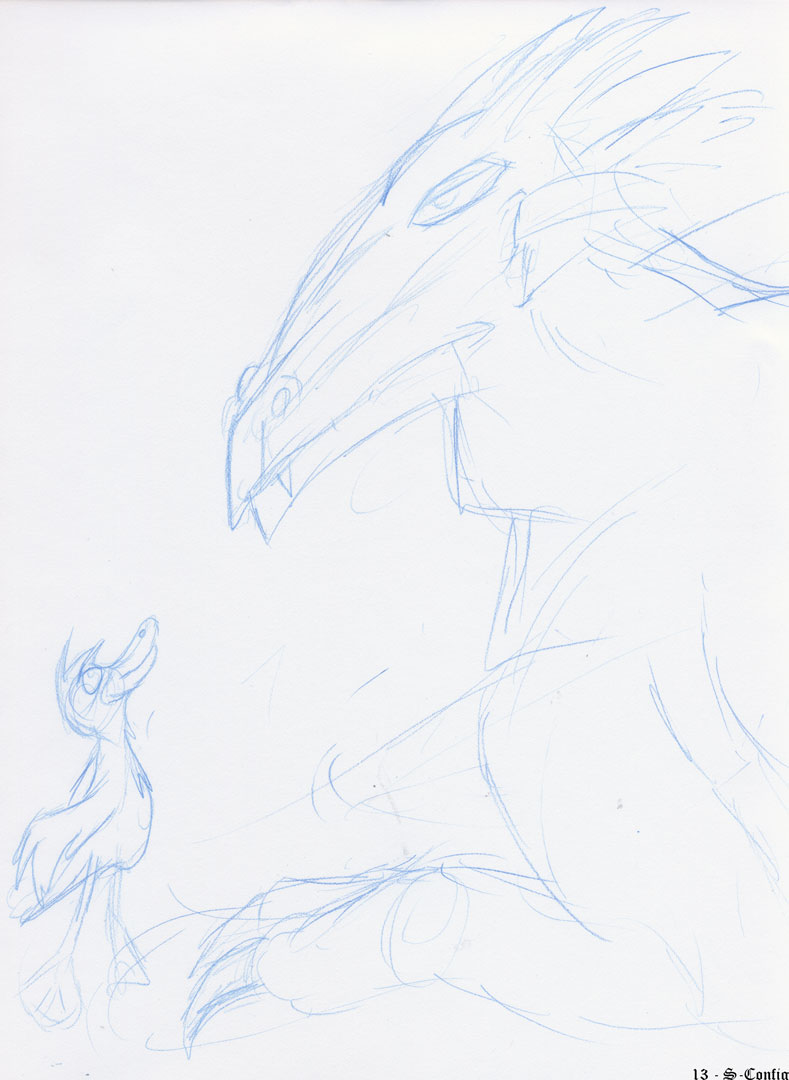 dragon vs. duck sketch