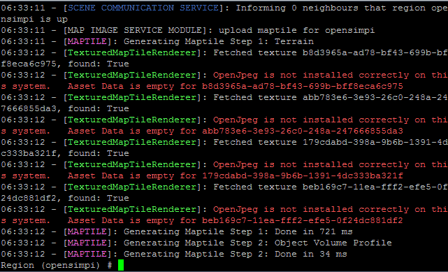 OpenSim Raspberry Pi libopenjpeg warning messages