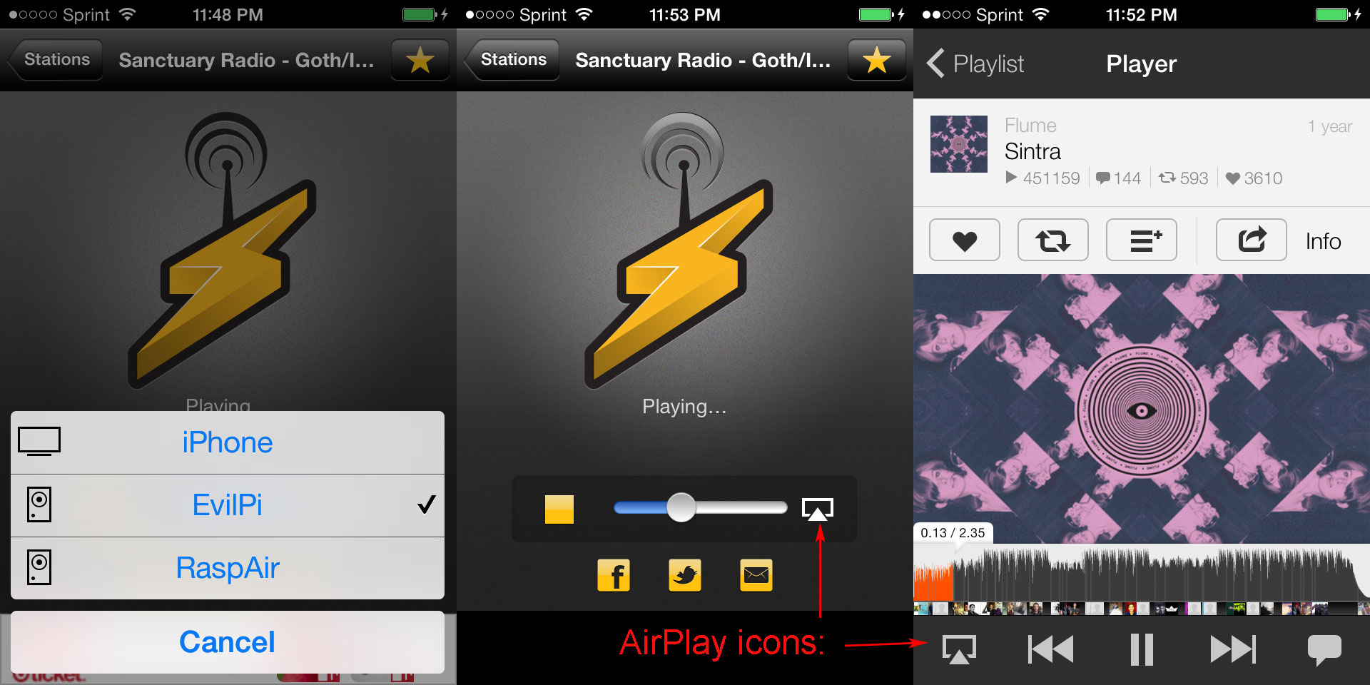 AirPlay icon location on IOS7