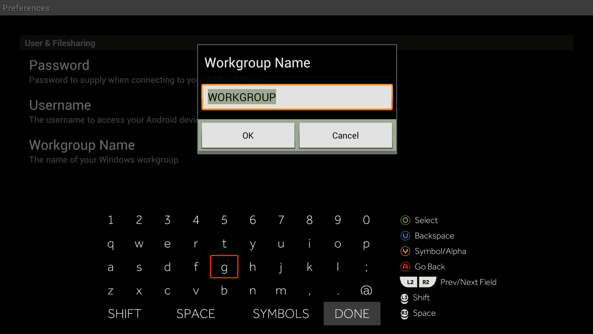 Samba Filesharing for Ouya - WorkGroup Name