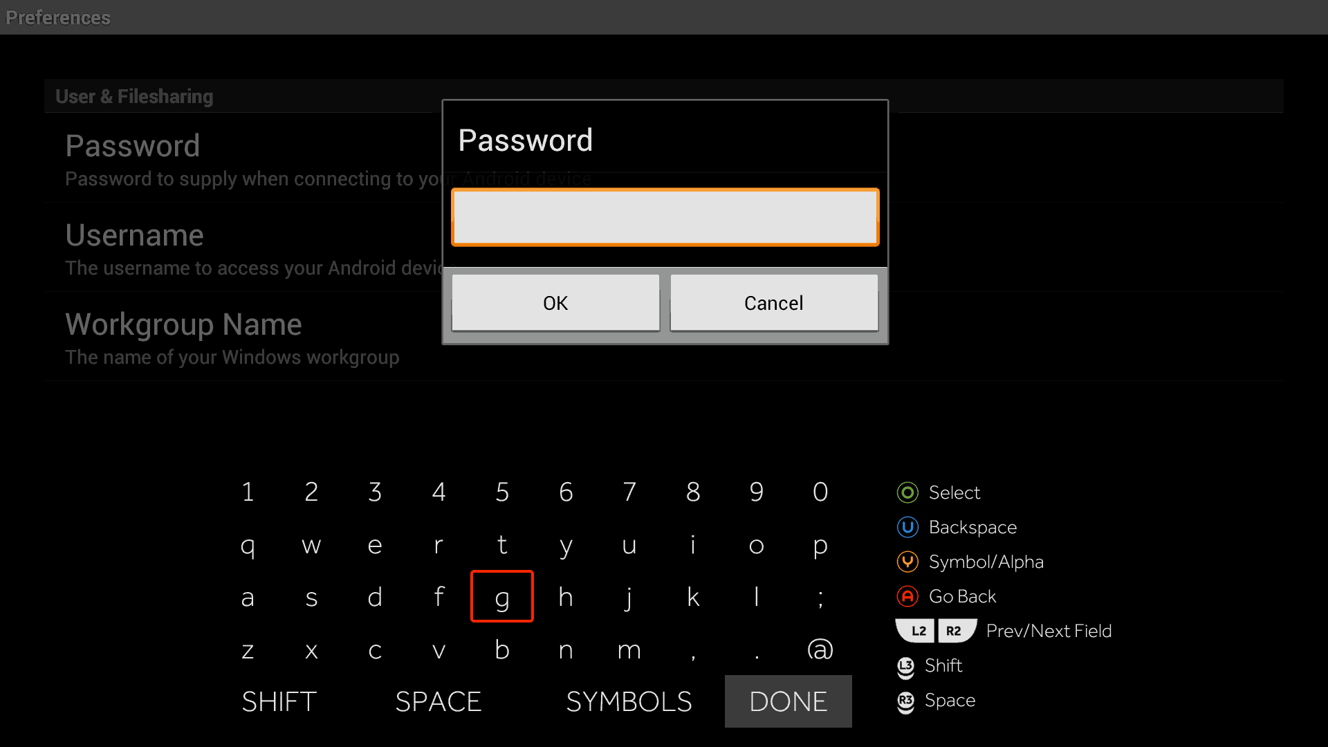 Samba FileSharing Password Section for Ouya