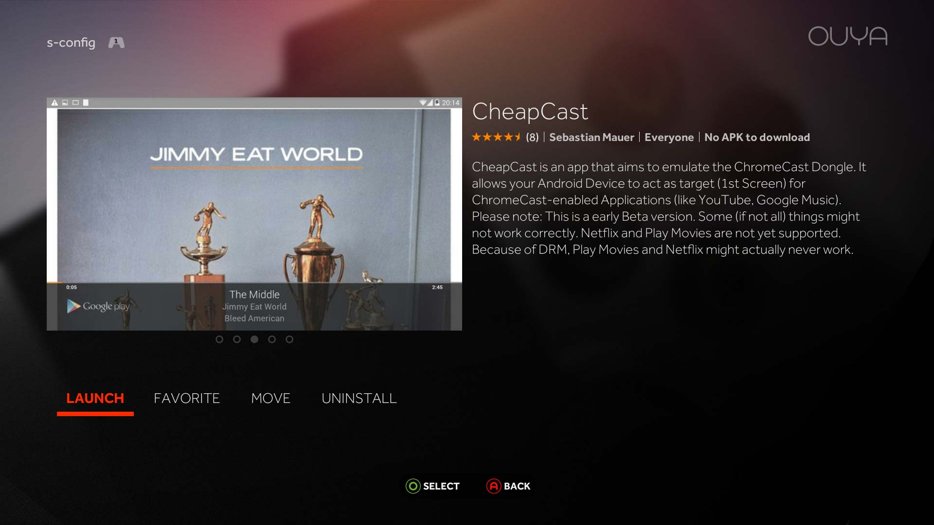 CheapCast on Ouya