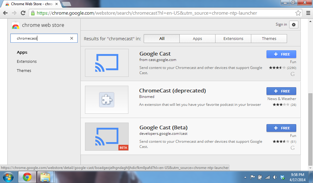 ChromeCast Installation into Google Chrome.