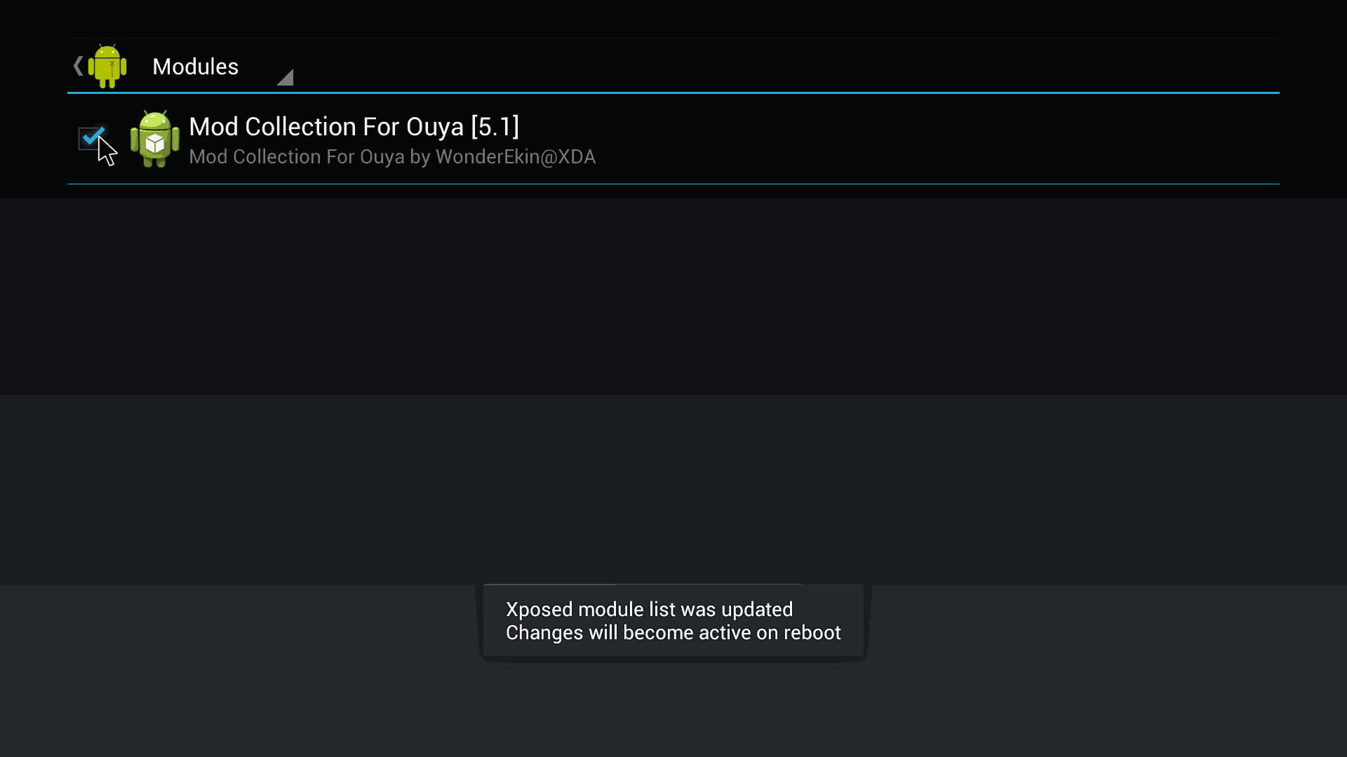Xposed Check-Box for Mod Collection for Ouya.