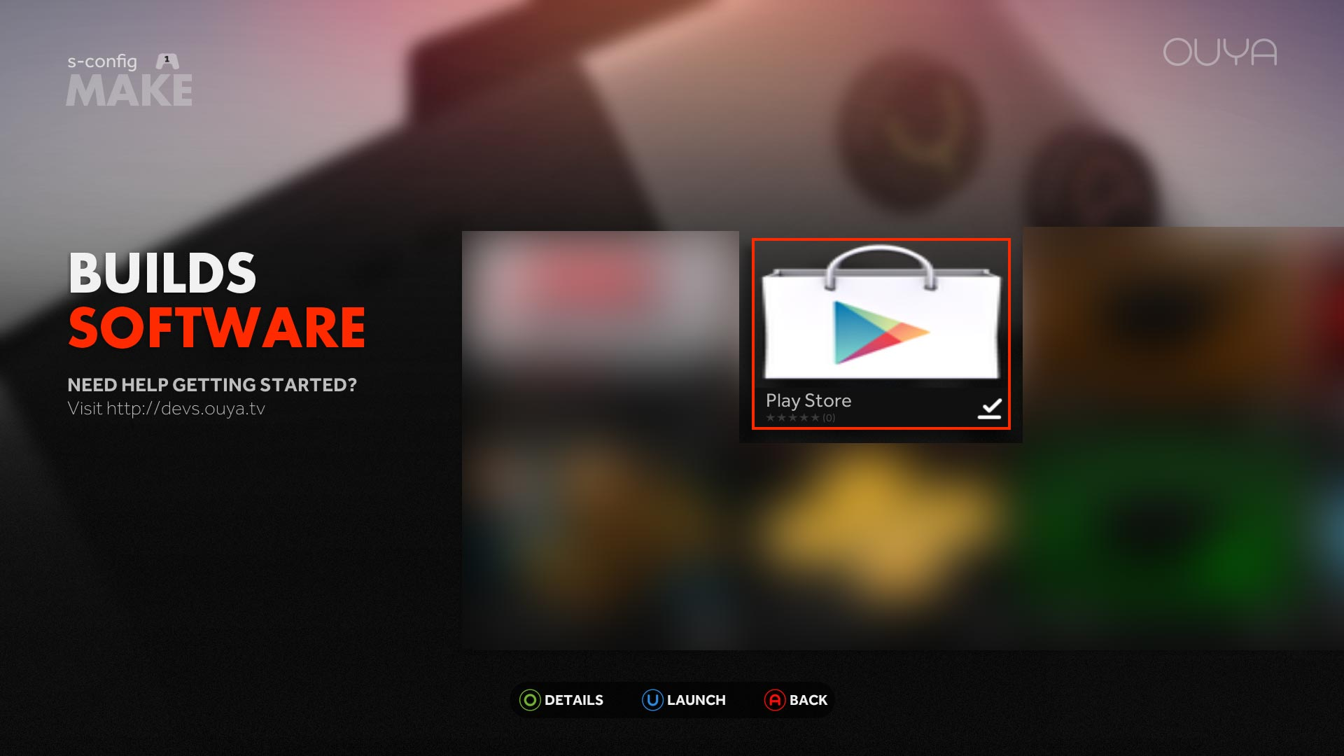 Google Play Store on the Ouya complete.