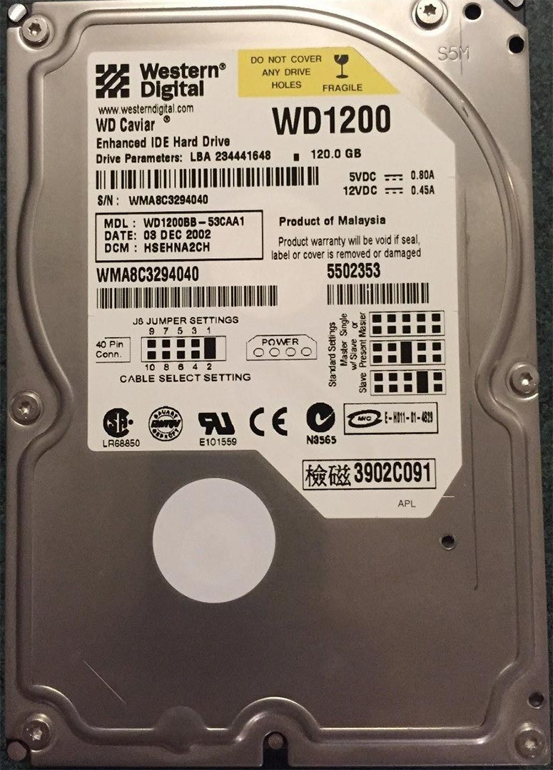Xbox Debug HDD Upgrade WD120BB