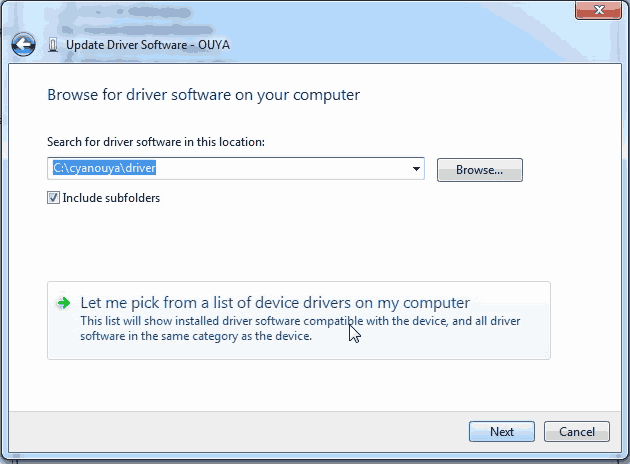 Ouya ADB Driver update - let me pick the driver.