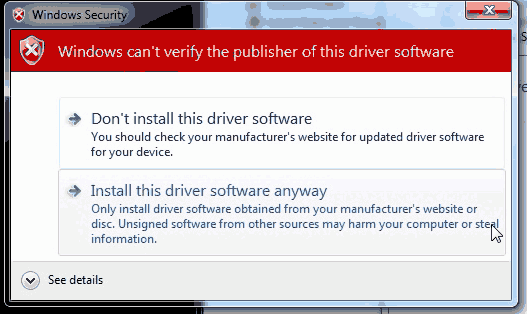 Ouya Adb device driver warning.