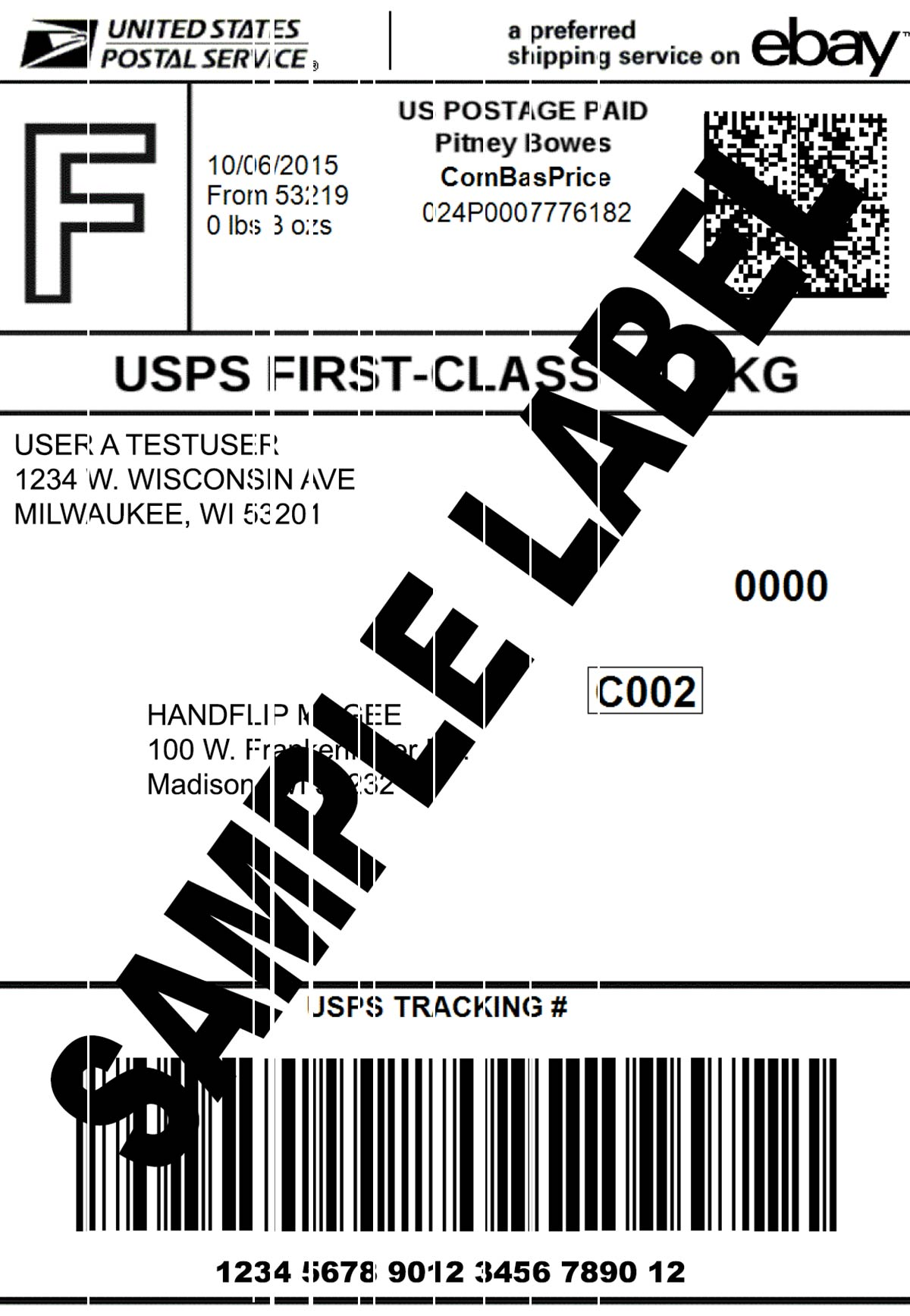 Thermal Printer Test - Shipping Label - Small Vertical Lines.