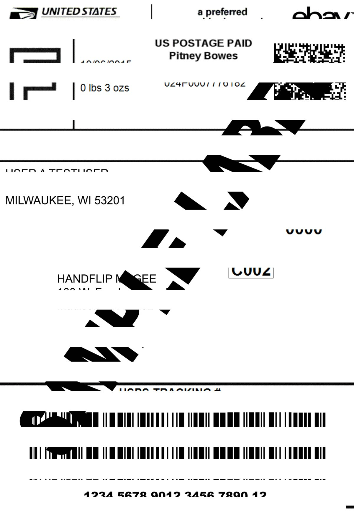 Thermal Printer Test - Shipping Label - Repetitive Horizonal Lines.