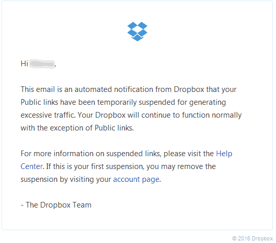 Broken Links due to DropBox account suspension.