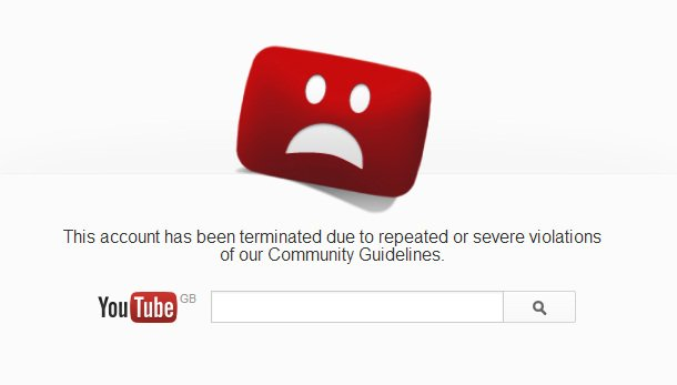 YouTube account terminated