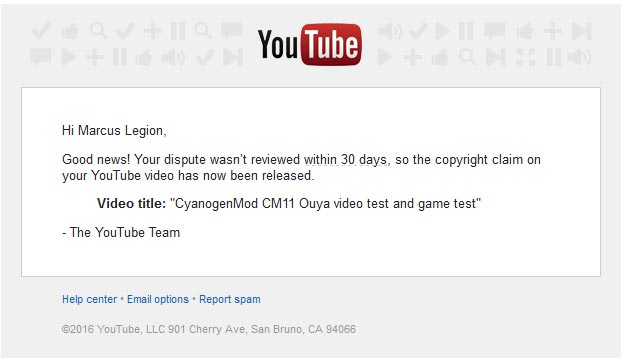 YouTube Released Claim.