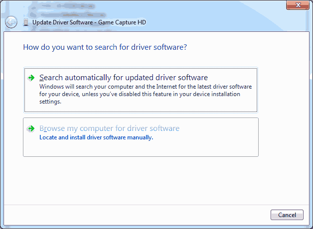 Browse my computer for the driver.