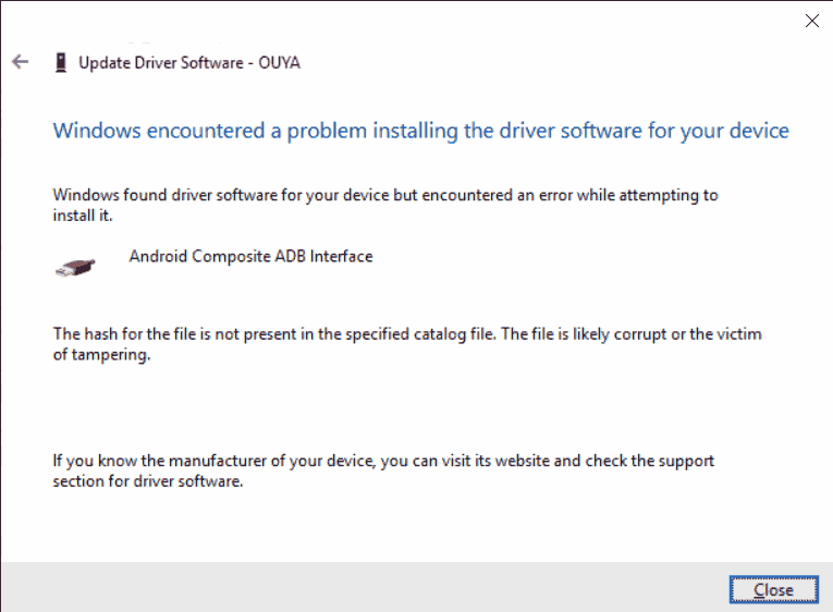 Windows 10 X64 driver installation error for ADB on Ouya