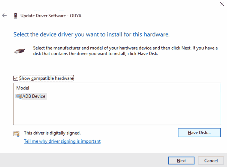 ADB driver - Windows 10 x64 have disk for Ouya.