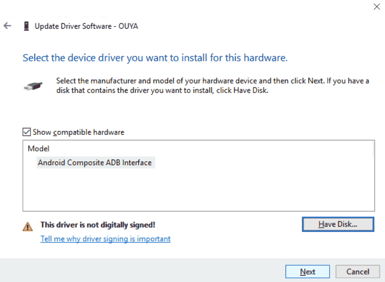 Windows 10 x64 - Select driver for Ouya Cyanogen ADB bridge.