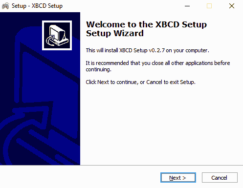 XBCD Setup Screen
