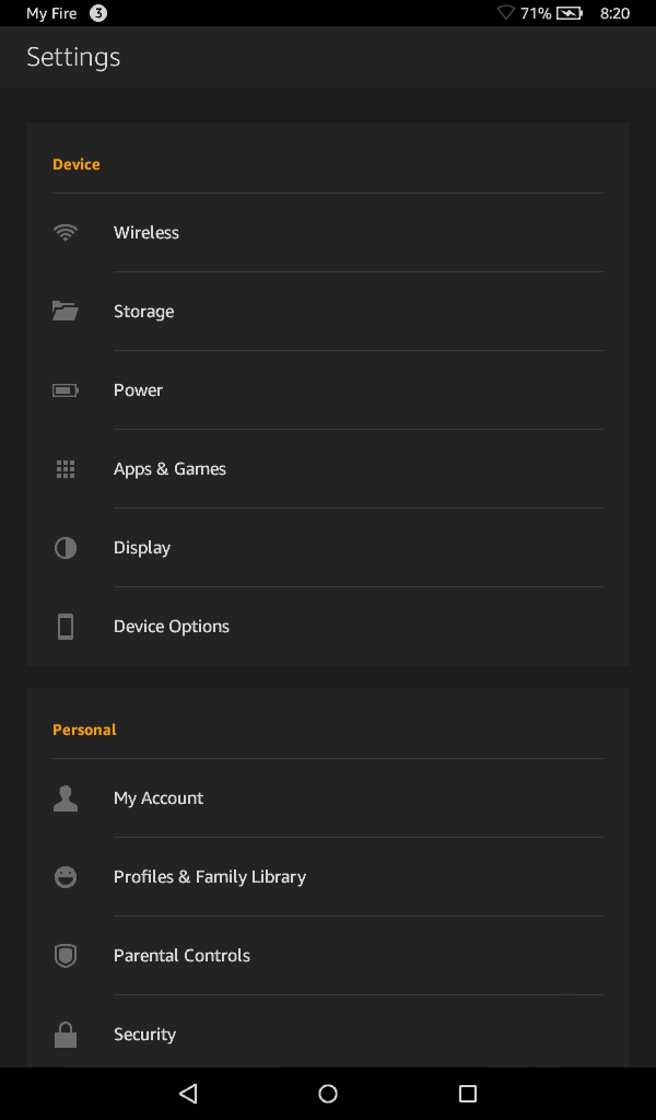 Fire OS 5.x settings screen