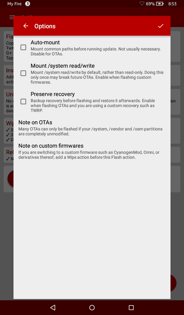 FlashFire for Kindle Fire - Nothing checked for CyanogenMOD