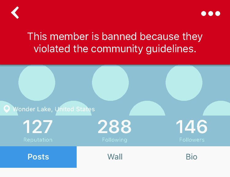 User Ban message on furry Amino