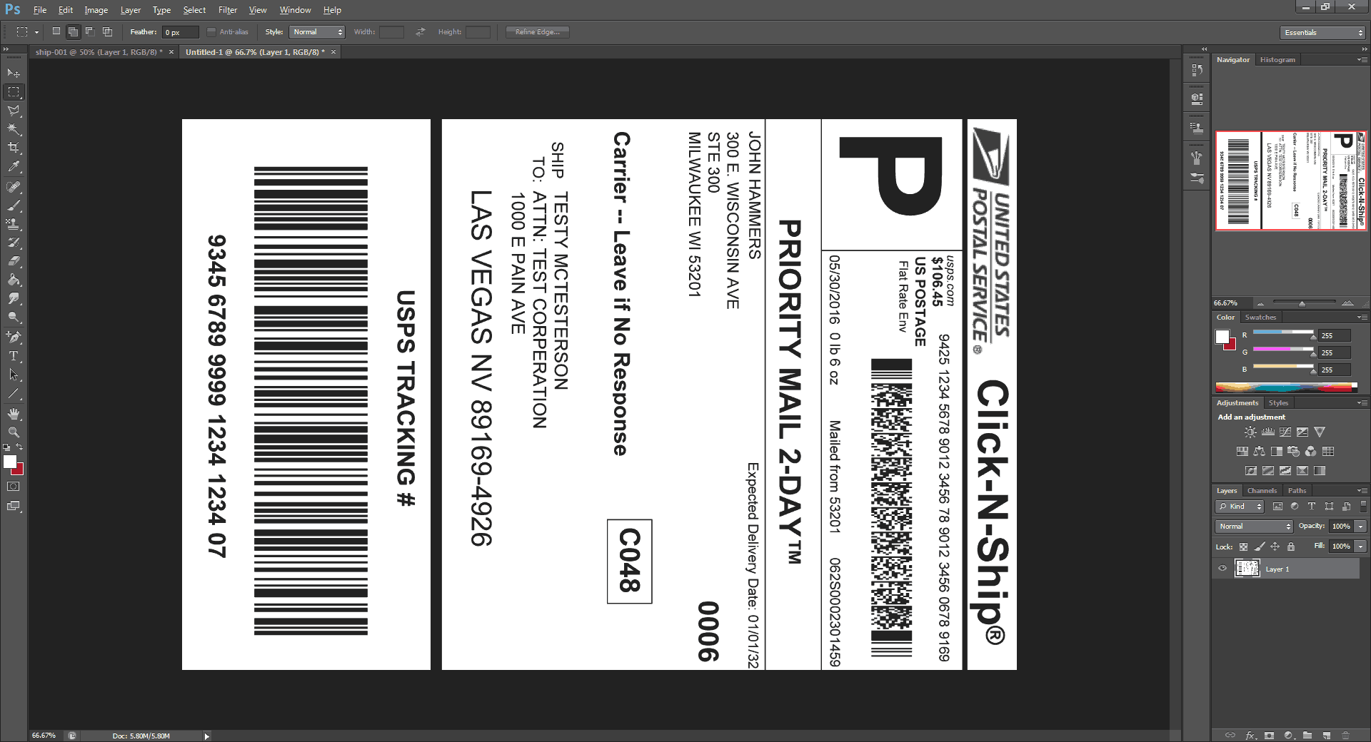 Cutting away the label in Photoshop.