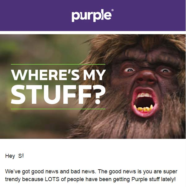 Purple Bed mass apology mailing.