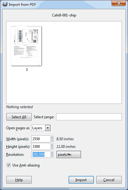 PDF Import Window within GIMP.