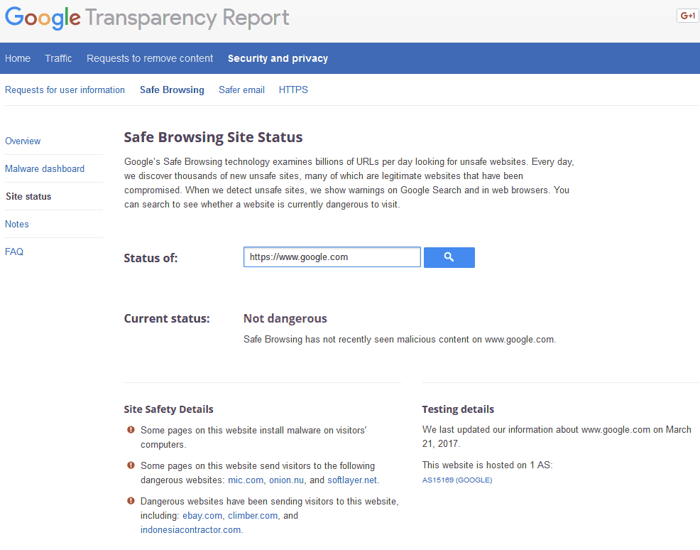 Google Failing transparancy report.