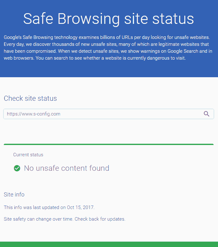 Google safe site transparancy check passed.