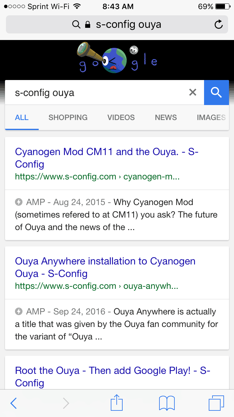 How search results look when AMP is enabled.
