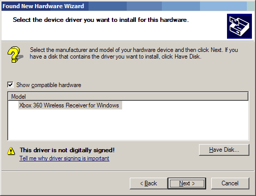 Xbox receiver driver for windows XP - Driver locked in.