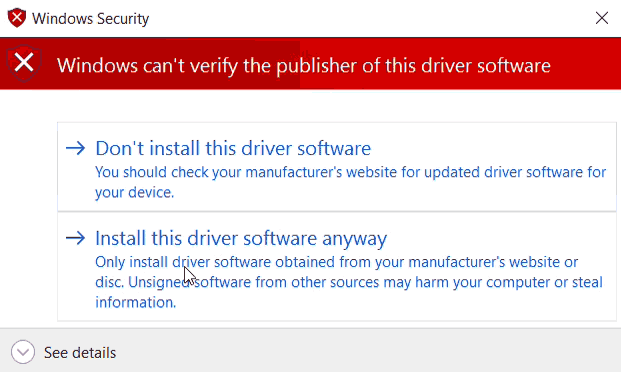 Windows can't verify the publisher of this driver software.