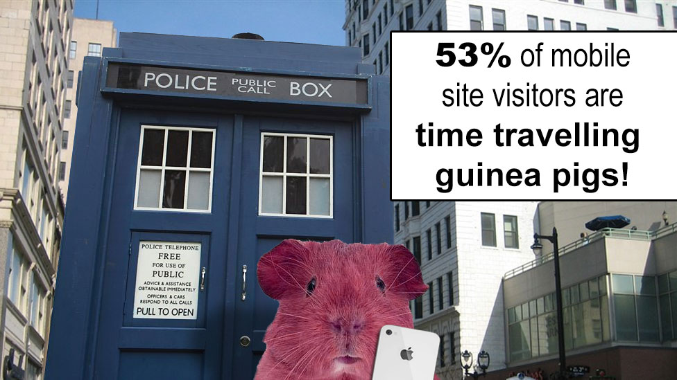 53 percent of mobile site visitors are time travelling guinea pigs!