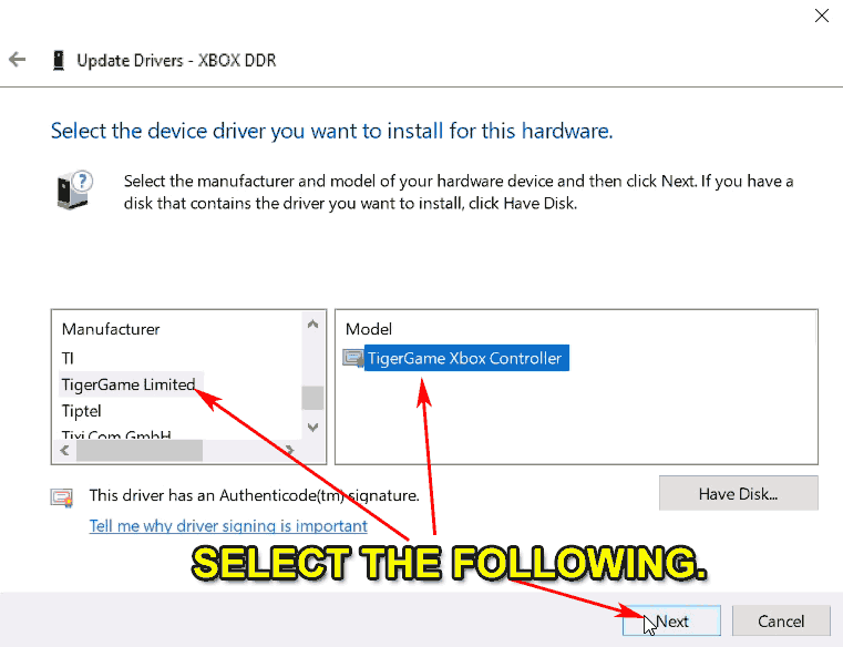 Device Manager - Driver Selection.