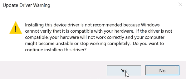 Device Manager - Driver Warning.