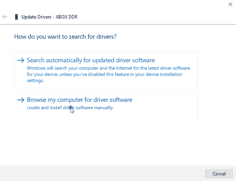 device manager - browse for the driver.