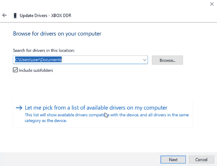 Device Manager - Let me pick the driver - tigergame / mayflash.