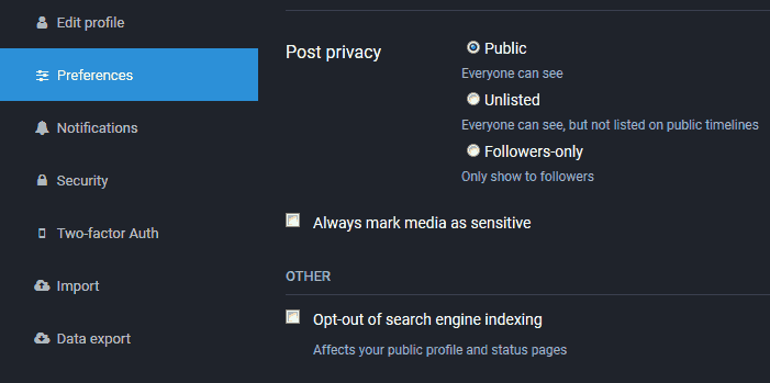 mastodon - post privacy