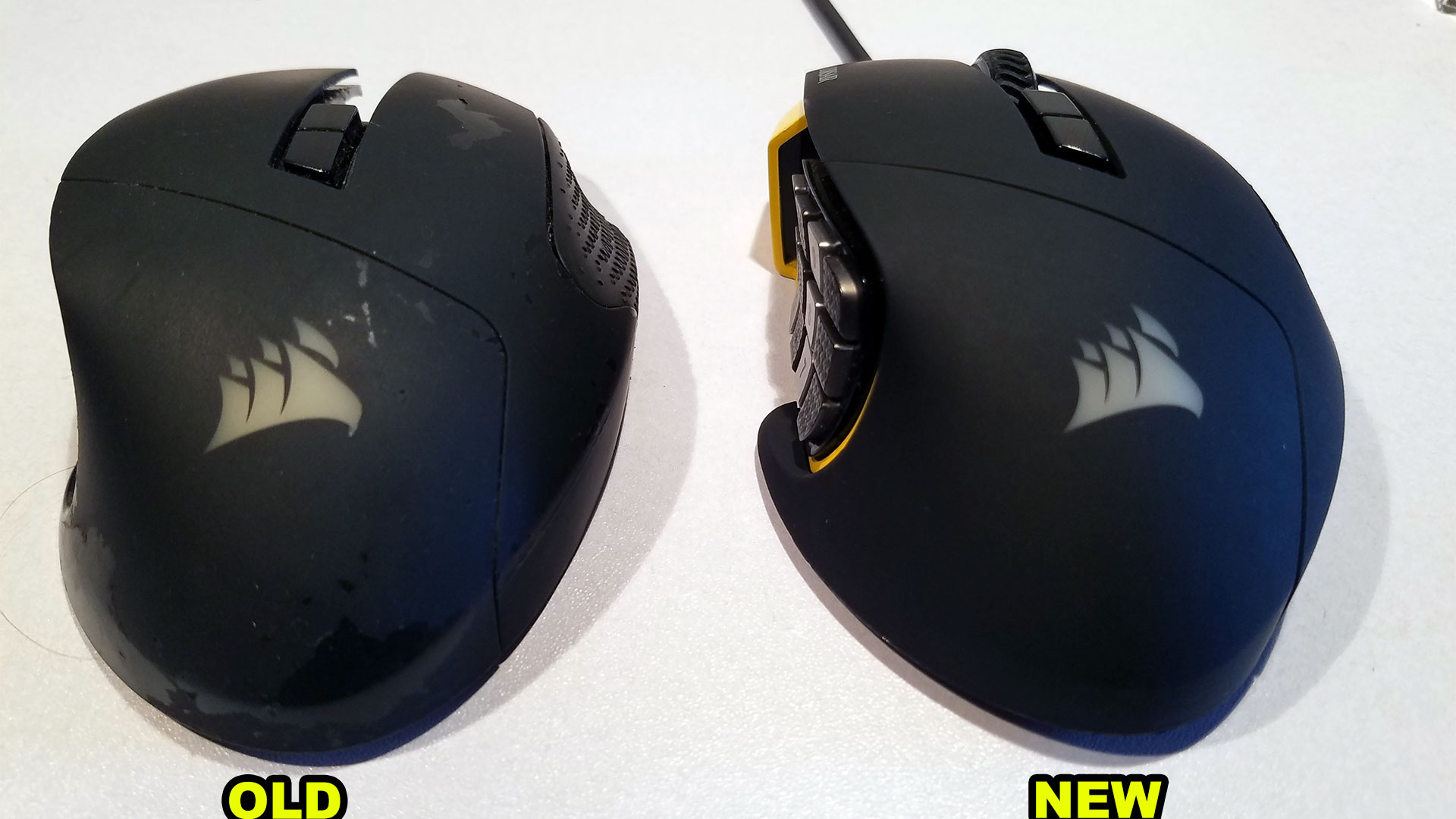 Corsair Scimitar - Old shell vs. New chinese shell comparison.